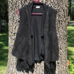 Sioni Black Wool Blend Layered Faux Suede Vest